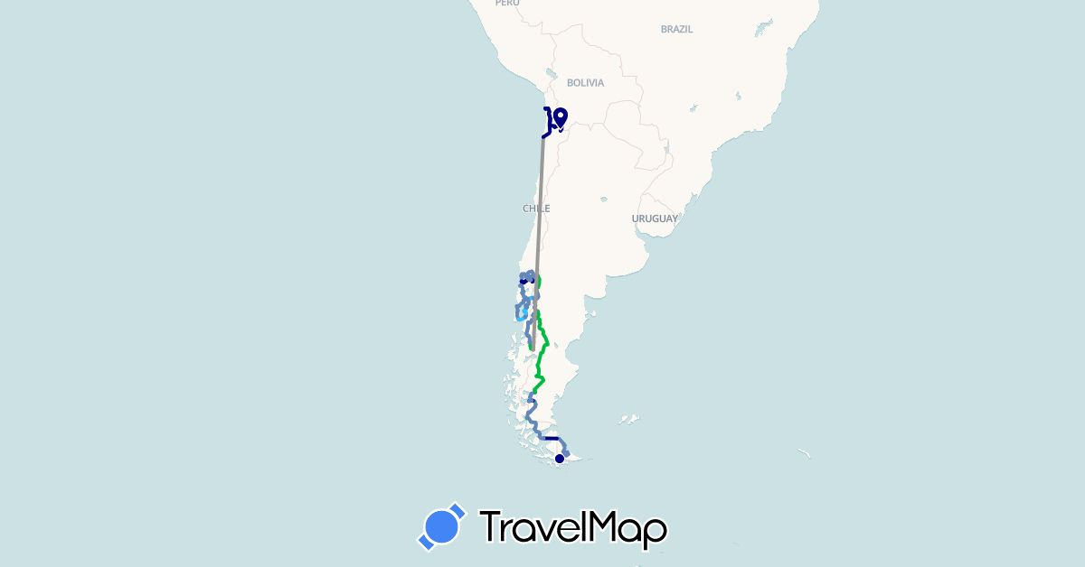 TravelMap itinerary: driving, bus, plane, cycling, hiking, boat in Argentina, Brazil, Canada, Chile, United States (North America, South America)
